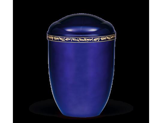 Stahlurne, Kobalt Blau ,Eichenlaubdekor