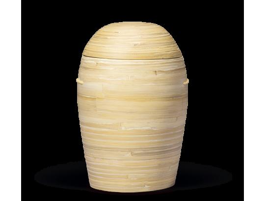 Bambusurne, Natur-Beige 100% nachwachsender Rohstoff gewölbter Deckel