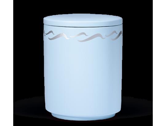 Seeurne, Atlantikblau, silber Wellendekor
