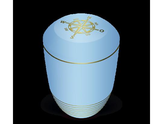 Seeurne, Atlantikblau, Gold Kompassdekor
