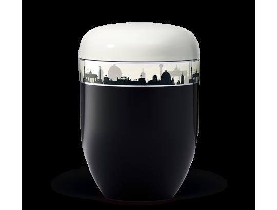 Naturstoff, Korpus Schwarz Deckel Weiß,Dekorband: Skyline BERLIN