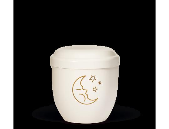 Naturstoff Kleinurne, Cremeweiß Dekor Mond u. Sterne Goldfarbig Verschlußdeckel,H:ca.18cm/D:ca.17cm