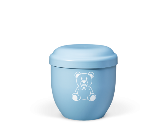 Naturstoff Kleinurne, Himmelblau Dekor Teddybär weiß Verschlußdeckel,H:ca.18cm/D:ca.17cm