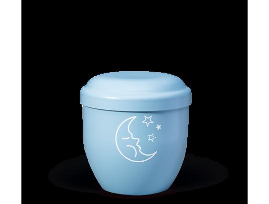 Naturstoff Kleinurne, Himmelblau Dekor Mond u. Sterne weiß Verschlußdeckel,H:ca.18cm/D:ca.17cm
