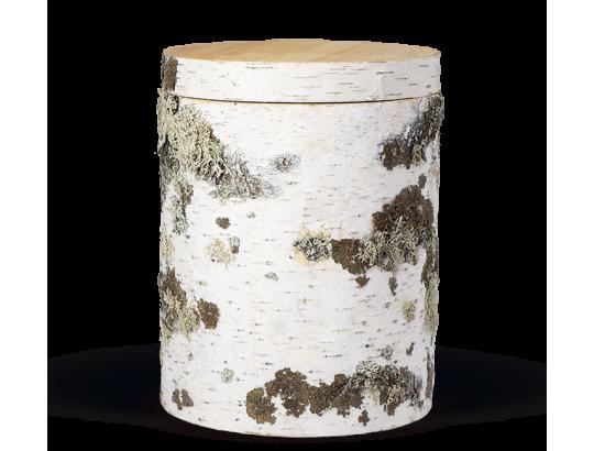 Holzurne aus Kiefer, rund, Baumrindenoptik (Birke)