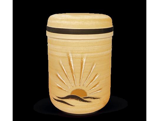 Keramikurne Sandfarben Motiv: Aufgehende Sonne