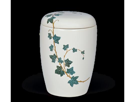 Keramikurne Weiß, Handbemaltes Motiv: Efeu