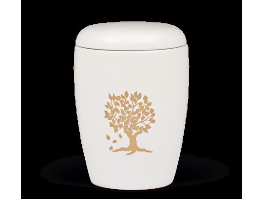 Keramikurne Weiß, Baum geklebt