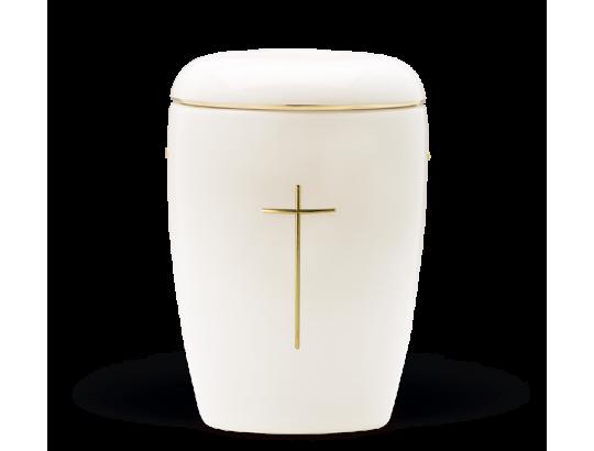 Keramikurne, Weiß glasiert, Goldband, Kreuz Stripdome