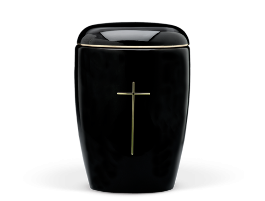 Keramikurne, Schwarz glasiert Goldbandverz., Gold Stripdome Kreuz