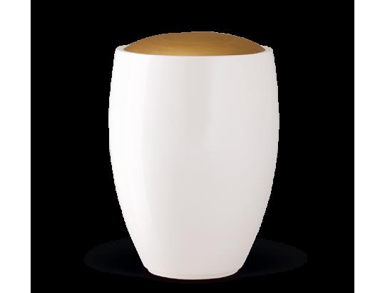 Keramikurne, Weiß glasiert, Deckel Goldfarbig