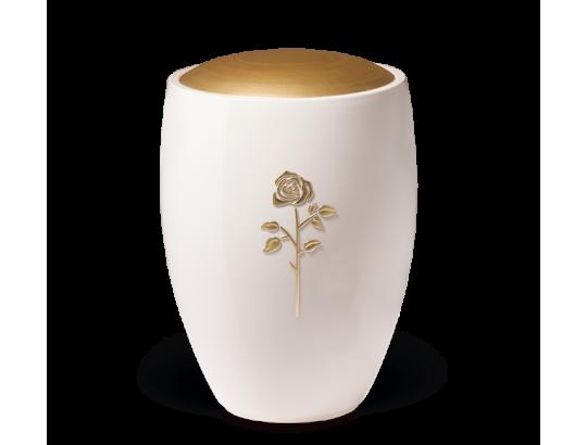 Keramikurne, Weiß glasiert, Deckel Goldfarbig, Rose Stripdome