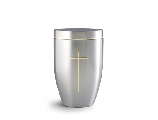 Cestal blank, satiniert Goldstreifen, poliertes Messingkreuz Exklusivserie Stella