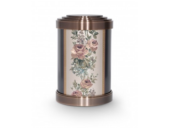 Bronzeurne mit Gobelin-Blumenmuster