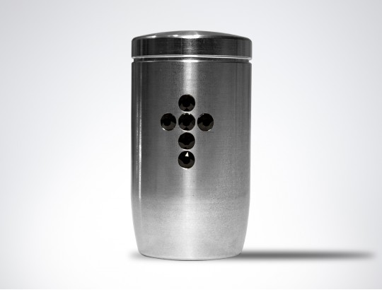 Miniurne aus Edelstahl - Herz Glaskristall schwarz