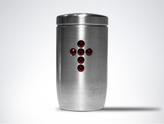 Miniurne aus Edelstahl - Kreuz Glaskristall rot