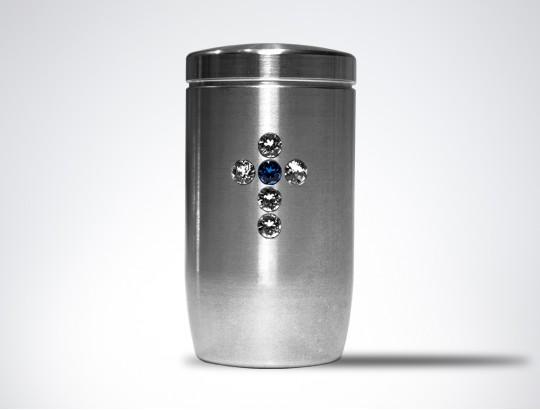 Miniurne aus Edelstahl - Kreuz Glaskristall weiß/blau
