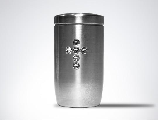 Miniurne aus Edelstahl - Kreuz Glaskristall weiß