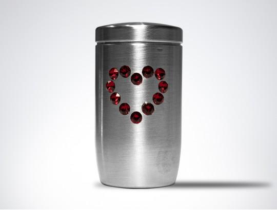Miniurne aus Edelstahl - Herz Glaskristall rot