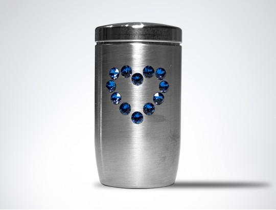 Miniurne aus Edelstahl - Herz Glaskristall blau