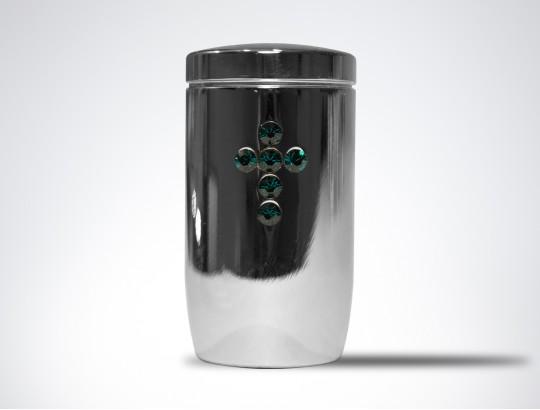 Miniurne aus Edelstahl poliert - Kreuz grün aus hochwertigen Kristallen