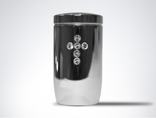 Miniurne aus Edelstahl poliert - Kreuz Glaskristall weiß
