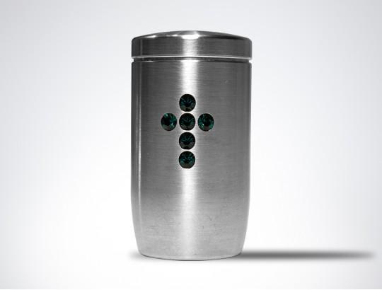 Miniurne aus Edelstahl - Kreuz Glaskristall grün