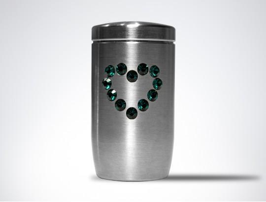 Miniurne aus Edelstahl - Herz Glaskristall grün