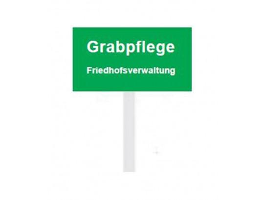 """Eckiges PVC-Schild """"Grabpflege Friedhofsverwaltung"""", 50 x 80 mm"""