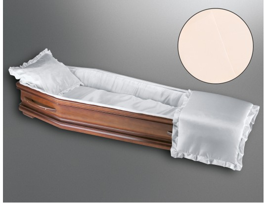 Sargausschlag für Körperformsarg, Glanzseide vanille